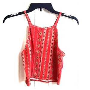 Red Patterned Kendall & Kylie Crop Top